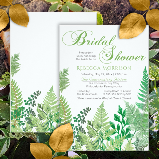 Vintage greenery and wild ferns green and white bridal shower two-sided invitations