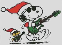 Cross Stitch Chart of Snoopy and Woodstock Rocking Merry Christmas