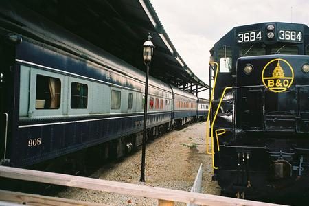 Some of the Baltimore and Ohio Railroad rolling stock displayed at the B&O Railroad Museum.