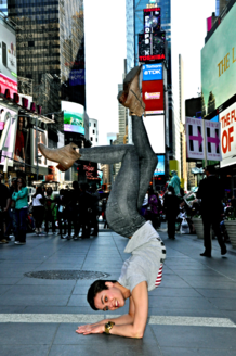 Nina Burri by Rob Klein Contortion on Times Square NYC
