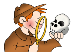 A cartoon detective child looking through a magnifying glass at a skull he is holding.