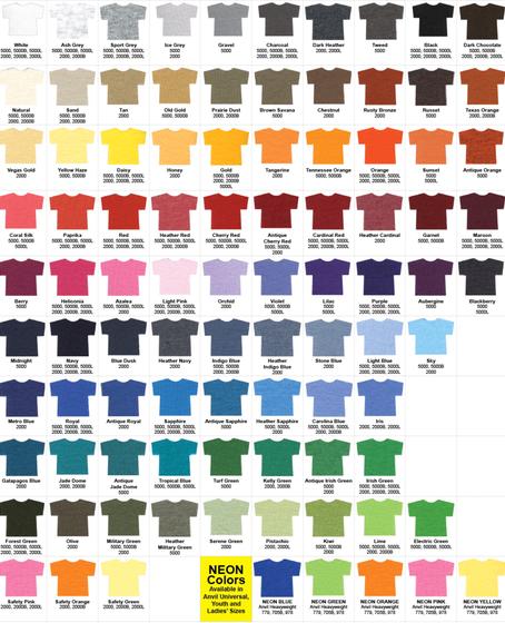 Hanes T Shirts Color Chart Best Shirt 2017