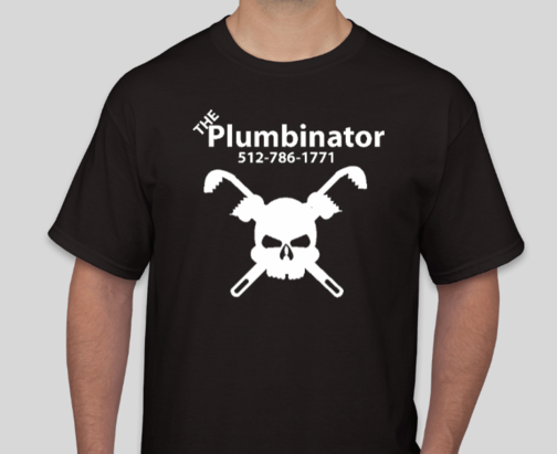 Photo of a man wearing The Plumbinator T-shirt. It is black with a white skull and crosswrenches, underneath the phone number and company name