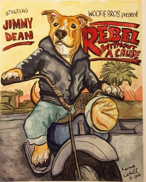 Pet Portrait Motorcycle Dog