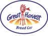 Great harvest logo in brown red and white, large windmill on loaf of bread