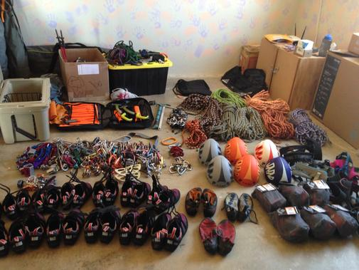 Stone Adventures - Joshua Tree Rock Climbing Guides - A selection of rock climbing gear from Stone Adventures in their gear closet.