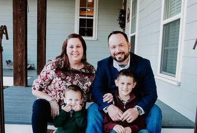 Owners Rob and Nicole Braud and their two sons, Noah and Sawyer