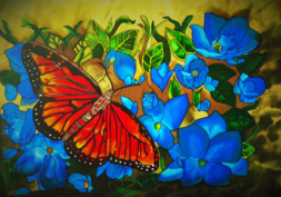Monarch Butterfly, Tracy Harris Famous Artist, Resist, Gutta, Silk Painter