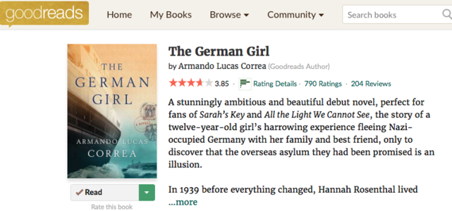 GOODREADS THE GERMAN GIRL NOVEL HABANA BERLIN HOLOCAUST