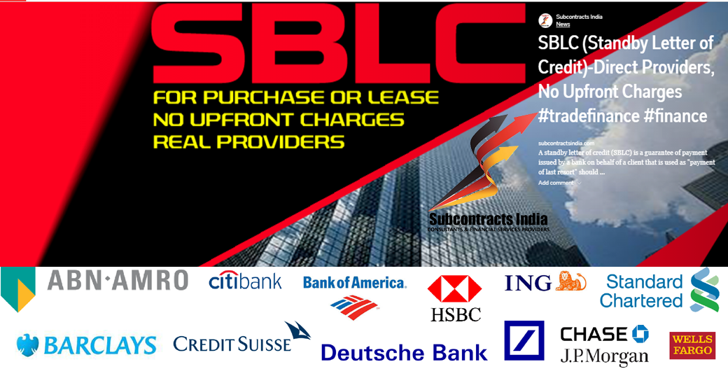 SBLC (Standby Letter of Credit)-Direct Providers, No Upfront