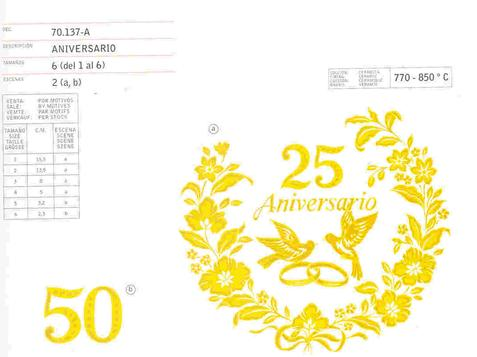 Anniversary Gold ceramic decals by Calcodecal
