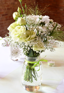 White Lisianthus and Carnation Flower Bouquet