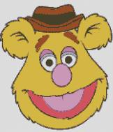 Cross Stitch Pattern Chart of Muppet Fozzie Bear Face
