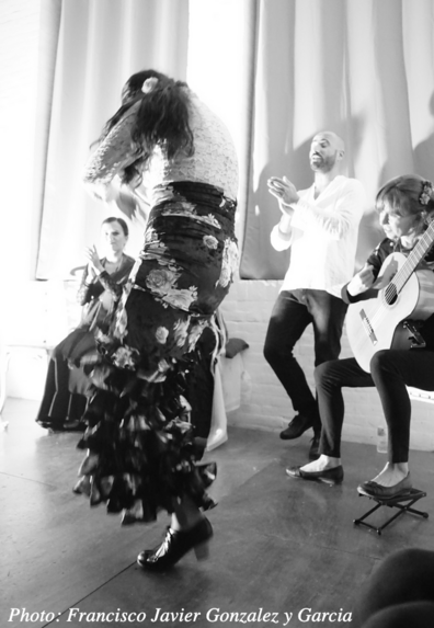 Performance with flamenco guitar, singing, and dance in Seville