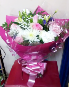 Pink Rose, Lily and Tulip Hand Tied Bouquet