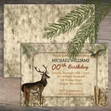 rustic woodsy deer and owl woods scene hunter birthday invitations