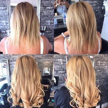 Long Blonde Curly Hair Extensions Nano Rings Long Blonde 100% Human Remy Precision Salon Eastwood Leigh on Sea Essex