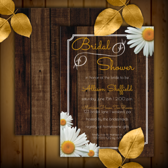 Rustic faux wood and shasta daisies bridal shower two-sided invitations