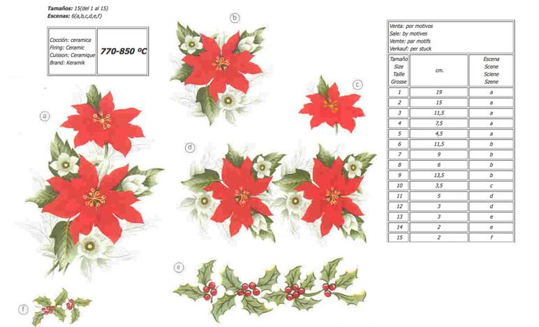 Christmas Flower ceramic decals by Calcodecal