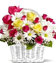 flower basket-flower arrangement-mothers day-pink flowers-rose-chrysanthemum bouquet-flowers-the little flower shop-florist-london-flower-shop