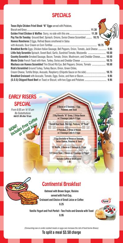 menu specials continental breakfast