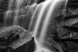 Bottom of the falls at Little River Canyon Nat. Preserve_black and white