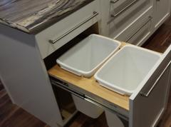 White Shaker Kitchen Garbage Pullout