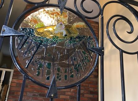 Custom fused glass insert into custom wrought iron railing, stained glass calgary