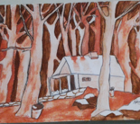 House and Trees in Watercolor