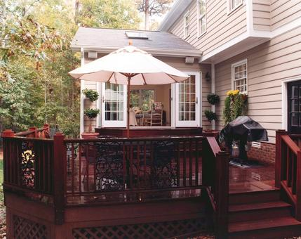 Ipe deck with Andersen french doors leading to interior