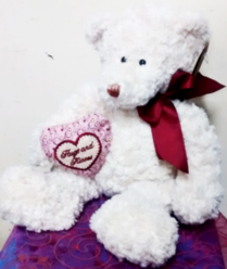 14 inch White Hugs and Kisses Teddy Bear