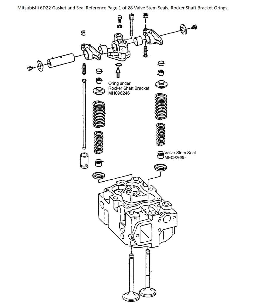 Mitsubishi 6D22 Gasket and Seal Reference Page 1 of 28
