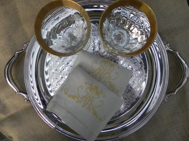 Gold Rimmed Wine Glasses with Vintage Embroidered Napkins - Mr. and Mrs.