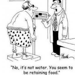 "Cartoon of Doctor weighting his patient; "" No, it's not water, you seem to be retaining food""."