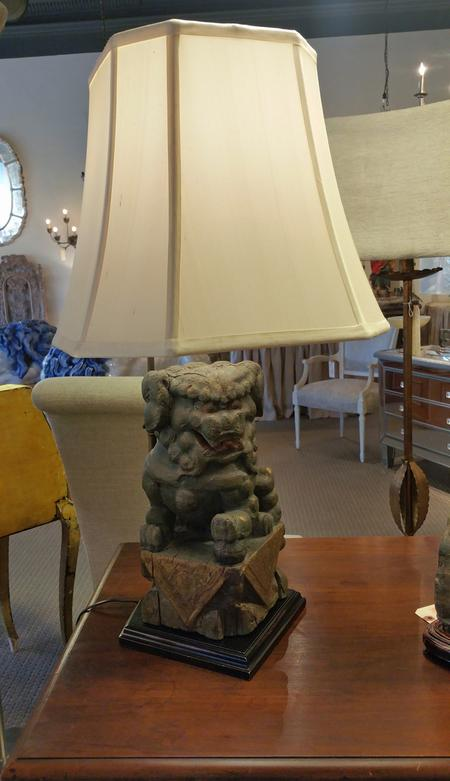 antique vintage chinese foo dog relic table lamp with custom bespoke silk shade pair