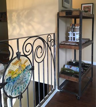 custom wrought iron railing with custom fused art glass insert, stained glass Calgary, glass artist