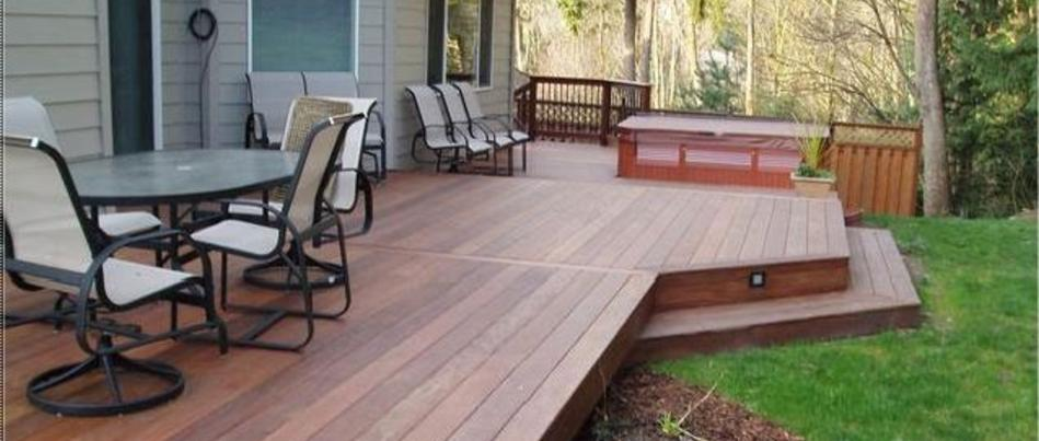 Beautiful custom deck with built-in planters.