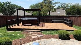 beautiful deck and gazebo and fence dallas