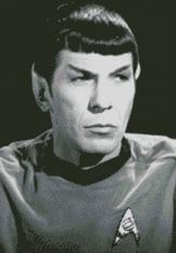 Cross Stitch Chart Pattern of Star Trek Mr Spock in Black and White