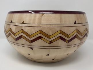 "Wenge Lattice Bowl Woods used: Wenge, Curly Maple, Beech, Sapaela 10 1/2"" diameter by 4 1/4"" tall 265 pieces ​$300"