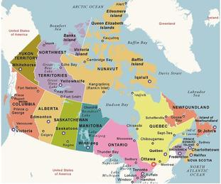 Map of Canada with Capital Ottawa and Provinces