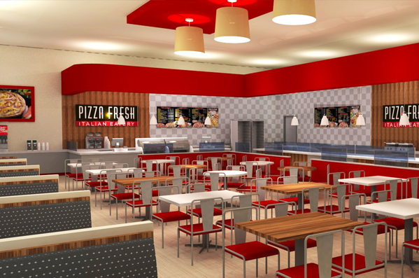 Catchy collections of pizza shop interior design