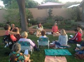 ellie hadsall, havan, yagnya, homa, agnihotra, Vedic fire cermony, meditation, retreat, back yard