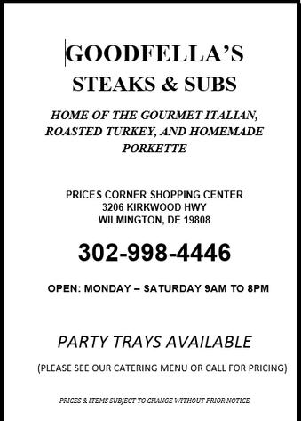 Menu Goodfellas Steaks & Subs Prices Corner 2017