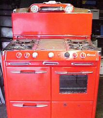A red stove in need of our antique stove repair in Los Angeles, CA