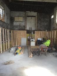 Inside view of the building and stud walls