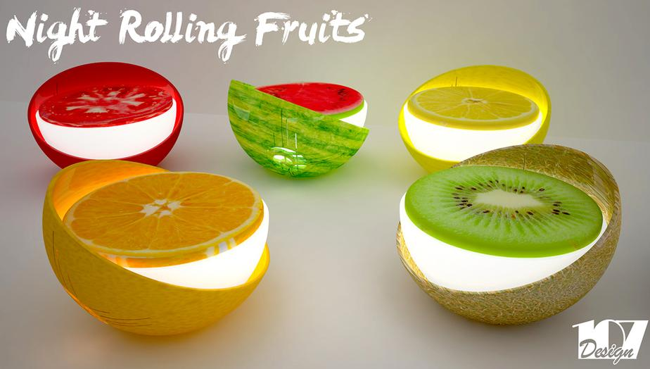 NIGHT ROLLING FRUITS SEDUTA LUMINOSA LAMP PER ESTERNI EXTERIORDESIGN MODELLAZIONE 3D MODEL DESIGN PROJECT DESIGN107