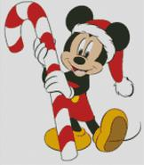 Christmas Cross Stitch Chart Mickey Mouse with Candy cane