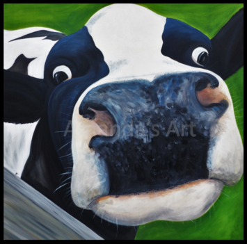 Cow painting, cow picture, cow face, moo, pet portrait, animal portrait, acrylics, canvas, gifts, home furnishing