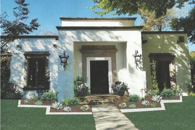 a beautiful landscaping design in san antonio with a stone walkway surrounded by a variety of plants in a flower bed